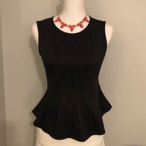 Monteau black knit sleeveless peplum top